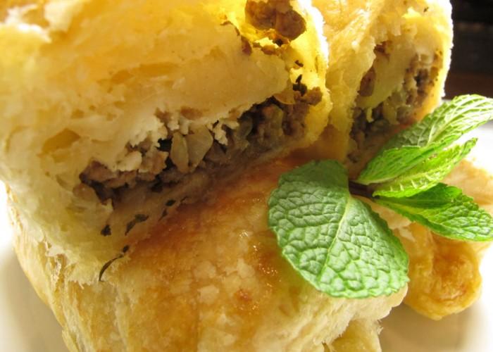 Casablanca-Menü Vorspeise: Blätterteig-Röllchen mit Hackfleisch