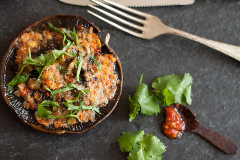 Indonesian-Dutch Fusion Cooking: Ovenbaked Portobello Mushrooms with Sambal