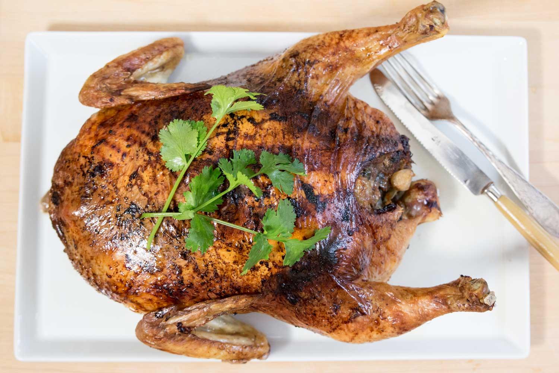 gefülltes Huhn gegart