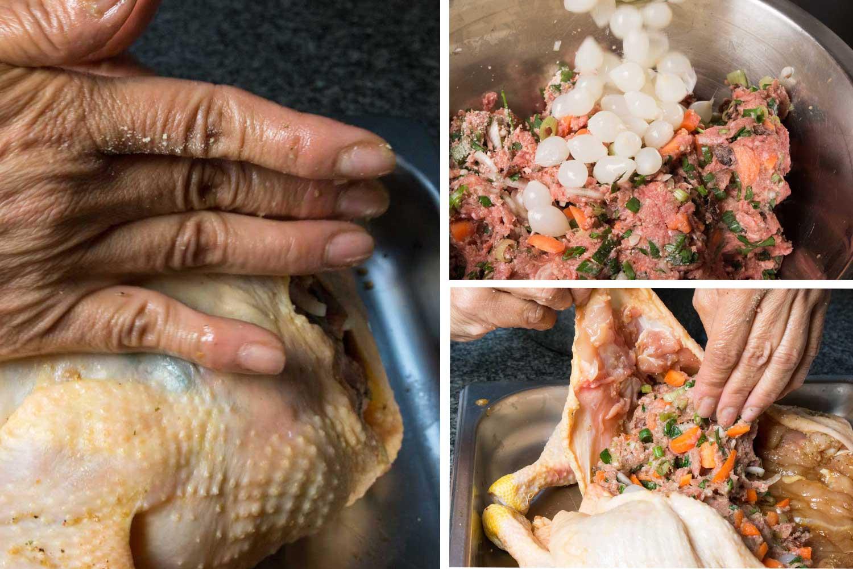 gefülltes Huhn garfertig