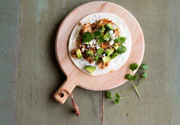 Taco mit pulled chicken